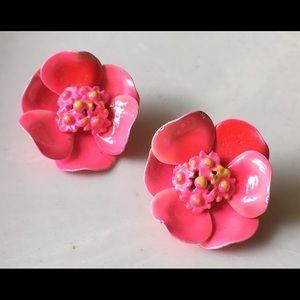Vintage hot pink enameled clip earrings